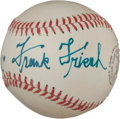 Autographs:Baseballs, 1950's Frank Frisch Single Signed Baseball, PSA/DNA NM+ 7.5....