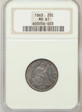 Seated Quarters: , 1863 25C MS61 NGC. NGC Census: (2/36). PCGS Population (2/47).Mintage: 191,600. Numismedia Wsl. Price for problem free NGC...
