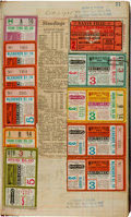 Baseball Collectibles:Tickets, 1935-45 Detroit Tigers Scrapbook with World Series Ticket Stubs(19)....