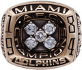 Football Collectibles:Others, 1984 Miami Dolphins AFC Championship Ring - Presented to Joe RobbieFamily Member!...