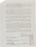 """Boxing Collectibles:Memorabilia, 1990 Muhammad Ali Signed Contract Authorizing """"Ali"""" Motion Picture Starring Will Smith...."""