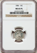 Seated Dimes, 1886 10C MS65 Prooflike NGC. NGC Census: (82/62). PCGS Population(75/34). Mintage: 6,376,684. Numismedia Wsl. Price for pr...