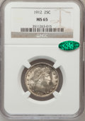 Barber Quarters, 1912 25C MS65 NGC. CAC....