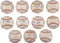Autographs:Baseballs, 1965 American League Team Signed Baseballs Lot of 11, Plus 1965 Dodgers....