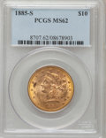 Liberty Eagles: , 1885-S $10 MS62 PCGS. PCGS Population (253/85). NGC Census:(258/76). Mintage: 228,000. Numismedia Wsl. Price for problem f...