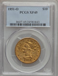 Liberty Eagles: , 1851-O $10 XF45 PCGS. PCGS Population (125/173). NGC Census:(185/559). Mintage: 263,000. Numismedia Wsl. Price for problem...