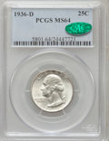 Washington Quarters: , 1936-D 25C MS64 PCGS. CAC. PCGS Population (632/404). NGC Census:(304/208). Mintage: 5,374,000. Numismedia Wsl. Price for ...