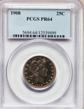 Proof Barber Quarters, 1908 25C PR64 PCGS. CAC....