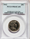 Proof Barber Quarters, 1912 25C PR64 Cameo PCGS. CAC....