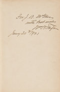 Books:Signed Editions, William Howard Taft Inscribed Presentation Copy of PresidentialAddresses and State Papers of William Howard Taft. ...