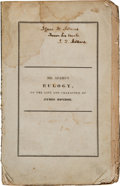 Books:Signed Editions, John Quincy Adams Signed Presentation Copy of Eulogy, on theLife and Character of James Monroe. ...