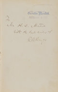 Books:Signed Editions, Rutherford B. Hayes Signed Presentation Copy of The Life Public Services and Select Speeches of Rutherford B. Hayes ...