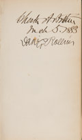 Books:Signed Editions, Chester A. Arthur Signed Book, Library Notes...