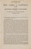 Autographs:U.S. Presidents, James A. Garfield Signed Copy of Speech of Hon. James A. Garfield, of Ohio, on the Constitutional Amendment to Abolish S...