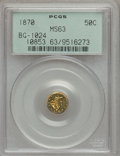 California Fractional Gold: , 1870 50C Liberty Round 50 Cents, BG-1024, Low R.4, MS63 PCGS. PCGSPopulation (14/5). NGC Census: (1/2). (#10853)...