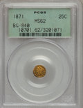 California Fractional Gold: , 1871 25C Liberty Round 25 Cents, BG-840, Low R.4, MS62 PCGS. PCGSPopulation (35/38). NGC Census: (7/6). (#10701)...