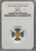 California Fractional Gold, (1853) 25C Liberty Round 25 Cents, BG-221, R.3, MS63 NGC. NGCCensus: (10/7). PCGS Population (53/43). (#10406)...
