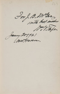 William H. Taft Signed Presentation Copy of The United States and Peace
