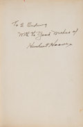 Books:Signed Editions, Herbert Hoover Signed Copy of Addresses upon the AmericanRoad 1933-1938. ...