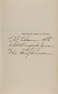 Books:Signed Editions, Harry S. Truman Inscribed Edition of Memoirs by Harry S. Truman.Vol. 1 and 2. Year of ... (Total: 2 Items)
