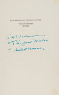 Books:Signed Editions, Herbert Hoover Signed Copy of The Memoirs of Herbert Hoover. Years of Adventure, 1874-1920. ...