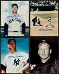 Baseball Collectibles:Photos, Mickey Mantle Signed Photographs Lot of 4....