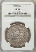 Morgan Dollars: , 1895-O $1 AU55 NGC. NGC Census: (486/775). PCGS Population(427/463). Mintage: 450,000. Numismedia Wsl. Price for problem f...