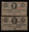 Confederate Notes:1863 Issues, T63 50 Cents 1863.. T72 50 Cents 1864.. ... (Total: 2 notes)