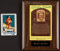 Baseball Collectibles:Others, Mickey Mantle Signed Hall of Fame Plaque Postcard and CeramicCard....