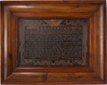 "Books:Americana & American History, [Abraham Lincoln]. Large Copper Plaque Entitled, ""Gettysburg"". [N.p., n.d., ca. 1880]. Copper plaque with the text of Lincol..."