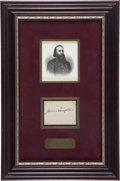"Books:Americana & American History, [James ""Pete"" Longstreet]. Signature of James Longstreet on theverso of a printed signature card bearing the name of Mrs. J..."