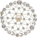 Estate Jewelry:Brooches - Pins, Edwardian Diamond, Cultured Pearl, Platinum, Gold Brooch. ...