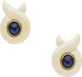 Estate Jewelry:Earrings, Sapphire, Bone, Gold Earrings, Verdura. ...