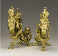 Decorative Arts, French, A Pair of Louis XVI Gilt Bronze Chenets . . Unknown maker, French.19th century. Gilt bronze. Unmarked. 19-1/2 inches (49.5 ...(Total: 2 Items)