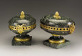 Decorative Arts, French, A Pair of Green Marble and Gilt Bronze Garniture Urns. . Unknownmaker, French. 19th century. Marble and gilt bronze. Unmark...(Total: 2 Items)