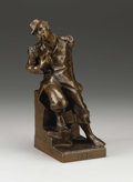 Decorative Arts, French, Wounded Soldier . . Georges-Jules Briois. 19th Century.Bronze with Brown Patination. 11-1/2 inches (29.2 cm). Signe...