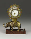 Decorative Arts, French, A Bronze Elephant Table Clock . Unknown maker, French. Late 19thcentury. Bronze, marble, enamel, crystals. Unmarked. ...