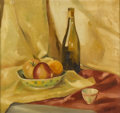 Fine Art - Painting, American:Other , CELESTE WHITNEY (American, Twentieth Century). Still Life withFruit and Wine Bottle. Oil on canvas. 18-1/4in. x 19in.. ...(Total: 1 Item)