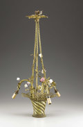 Miscellaneous, A Louis XV Style Basket of Flowers Chandelier. Unknown maker, possibly American. 20th century. Wire, porcelain. Un...