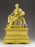 Miscellaneous, A Very Large Gilt Bronze Mantle Clock. . 19th Century. Gilt Bronze. 29 inches (73.7 cm). ...