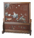 Asian:Chinese, An Asian Lacquer Screen and Stand. Unknown maker, Asian. 20thcentury. Hardstone, wood. Unmarked. 34 inches high x 43 inch...