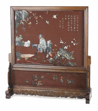 An Asian Lacquer Screen and Stand  Unknown maker, Asian 20th century Hardstone, wood Unmarked 34 inches high x 43 inch...