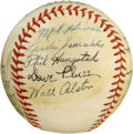 Autographs:Baseballs, 1940s Minor League Team Signed Baseball with Walt Alston. Before heheld the reigns of the Brooklyn Dodgers manager Walt Al...
