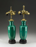Furniture , A Pair of Chinese Apple Green Crackle Glazed Roleau Form Vases Fitted as Table Lamps . . 19th Century. 14 inches (35.6 cm). ... (Total: 2 Items)