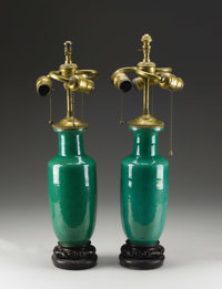 A Pair of Chinese Apple Green Crackle Glazed Roleau Form Vases Fitted as Table Lamps 19th Century 14 inche