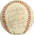 Autographs:Baseballs, 1940s Texas League Team Signed Baseball. This official Texas Leagueorb signed by twenty was most likely signed in the 1940...
