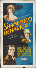 "Movie Posters:Comedy, Shameful Behavior? (Preferred Pictures, 1926). Three Sheet (41"" X81""). Style A. Comedy.. ..."