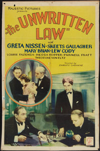 "The Unwritten Law (Majestic, 1932). One Sheet (26.5"" X 40.5""). Mystery"