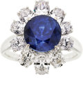 Estate Jewelry:Rings, Kashmir Sapphire, Diamond, White Gold Ring. ...