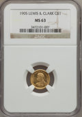 Commemorative Gold, 1905 G$1 Lewis and Clark MS63 NGC. CAC....